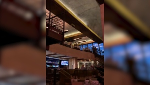 Earthquake causes casino lights to swing