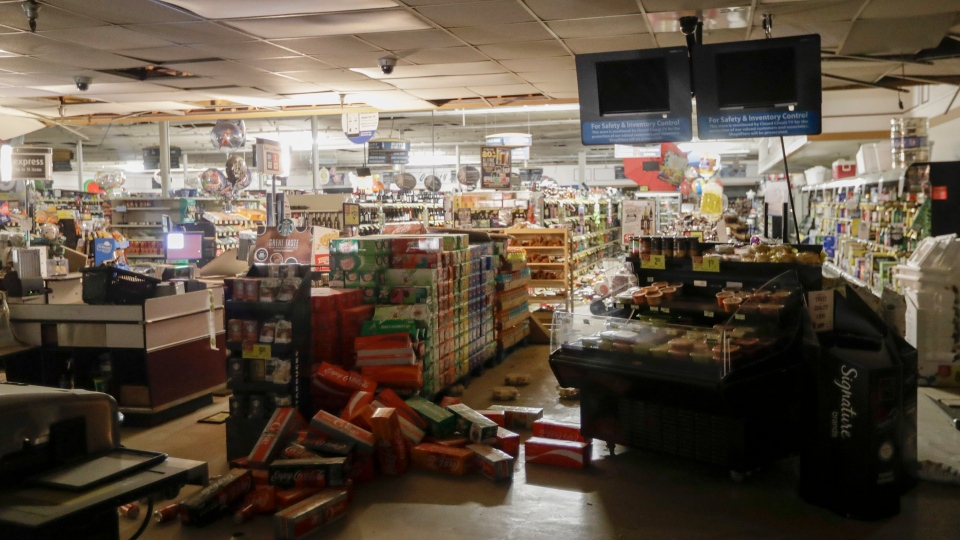 Merchandise is scattered on the floor of a Albertson's grocery store Saturday, July 6, 2019 following a earthquake in Ridgecrest, Calif. ( AP Photo/Marcio Jose Sanchez)