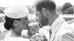 The Duke and Duchess of Sussex hold baby Archie at his christening on Saturday, July 6, 2019. (sussexroyal/ Instagram)