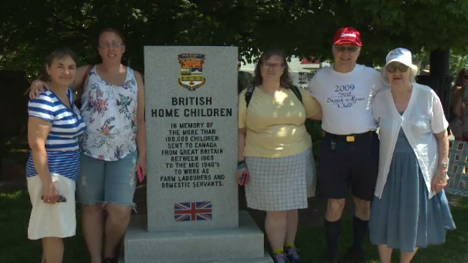 Descendants of the British Home Children gathered at the new memorial, each one having parents or grandparents that were sent to Canada for labour.
