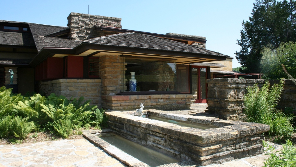 FILE - This July 5, 2008, file photo, shows the library at Frank Lloyd Wright's home, called Taliesin, is shown in Spring Green, Wis.