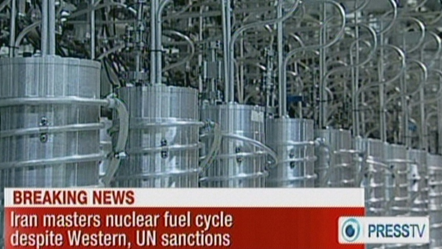 An image grab from Iranian state TV in 2012 shows centrifuges at the Nantanz nuclear site. (AFP)