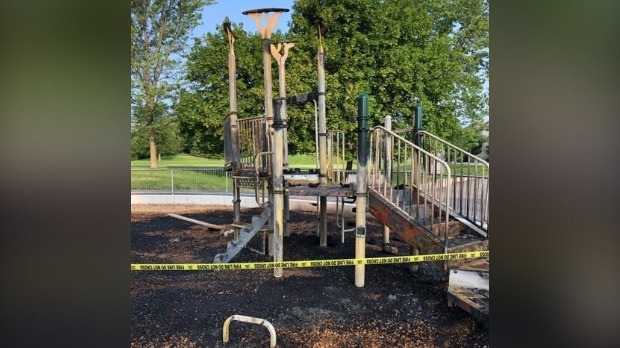A burned-out play structure