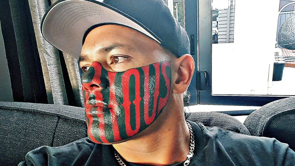A New Zealand gang member with a large tattoo masking most of his face is grateful to have landed a job as a personal trainer, after years of looking for work. (Puk Kireka/Facebook)