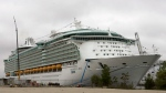 This May 11, 2006 file photo shows the Freedom of the Seas cruise ship docked in Bayonne, N.J. Police in Puerto Rico say that on Sunday, July 7, 2019, a toddler apparently slipped from her grandfather's hands and fell to her death on this cruise ship, Freedom of the Seas, while docked in Puerto Rico. (AP Photo/Mike Derer, File)