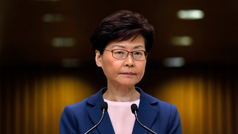 Hong Kong Chief Executive Carrie Lam pauses during a press conference in Hong Kong, Tuesday, July 9, 2019. Lam said Tuesday the effort to amend an extradition bill was dead. (AP Photo/Vincent Yu)