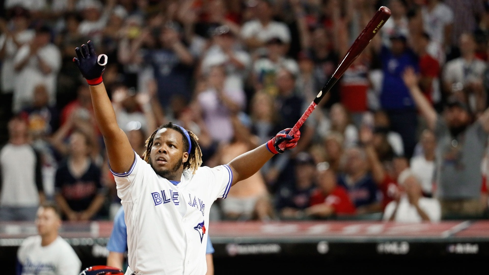 Vladimir Guerrero Jr., of the Toronto Blue Jays, reacts to a hit during the Major League Baseball Home Run Derby, Monday, July 8, 2019, in Cleveland. The MLB baseball All-Star Game will be played Tuesday. (AP Photo/John Minchillo)