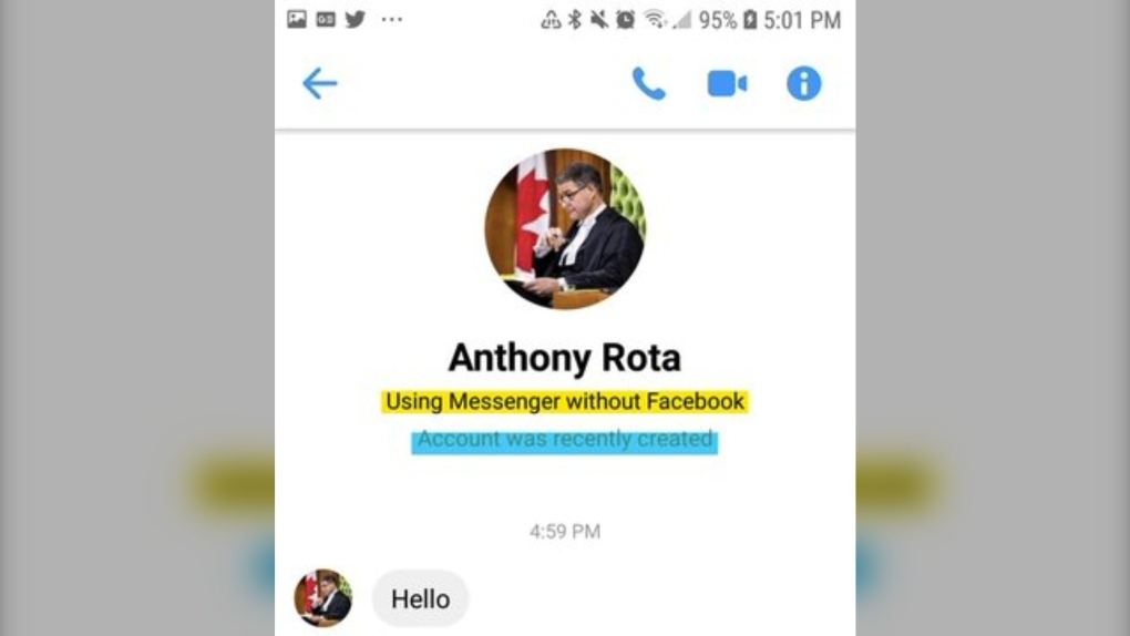 Message from fake Anthony Rota account