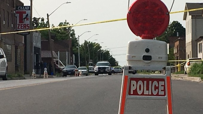 Windsor Police have a section of Drouillard Road taped off just south of Reginald in Windsor, Ont., on Tuesday, July 9, 2019. (Chris Campbell / CTV Windsor)