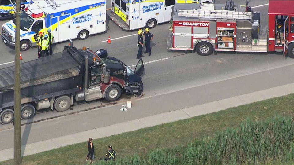 The scene of a fatal crash in Brampton on July 9, 2019 is seen. (CTV News Chopper)