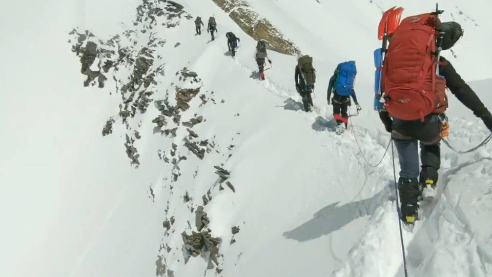 Indian-Tibetan Border Police have released video they say shows some of the final moments of a group of climbers who died in the Himalayas. (Source: Indian-Tibetan Border Police / Twitter)