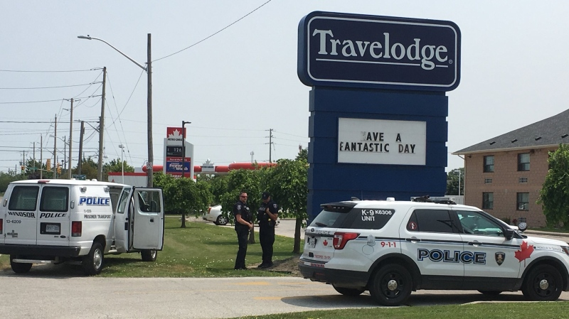 Three people were arrested at a hotel on Division Road in Windsor, Ont., on Tuesday, July 9, 2019. (Chris Campbell / CTV Windsor)