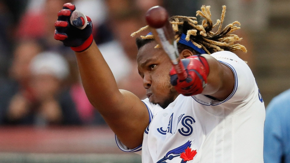 Vladimir Guerrero Jr., of the Toronto Blue Jays, hits during the Major League Baseball Home Run Derby, Monday, July 8, 2019, in Cleveland. The MLB baseball All-Star Game will be played Tuesday. (AP Photo/John Minchillo)