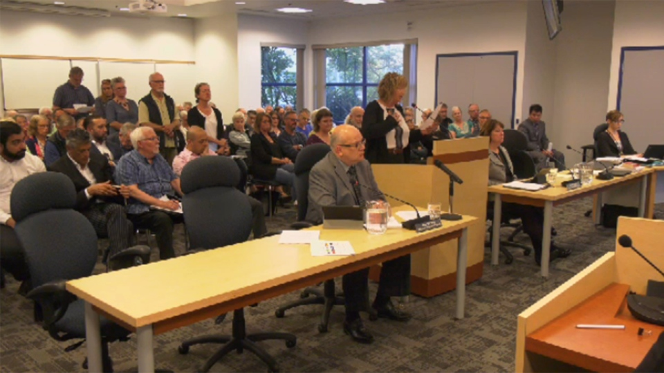 More than 100 people packed Esquimalt council chambers to voice opposition to a proposed 12-storey development. July 8, 2019. (CTV Vancouver Island)