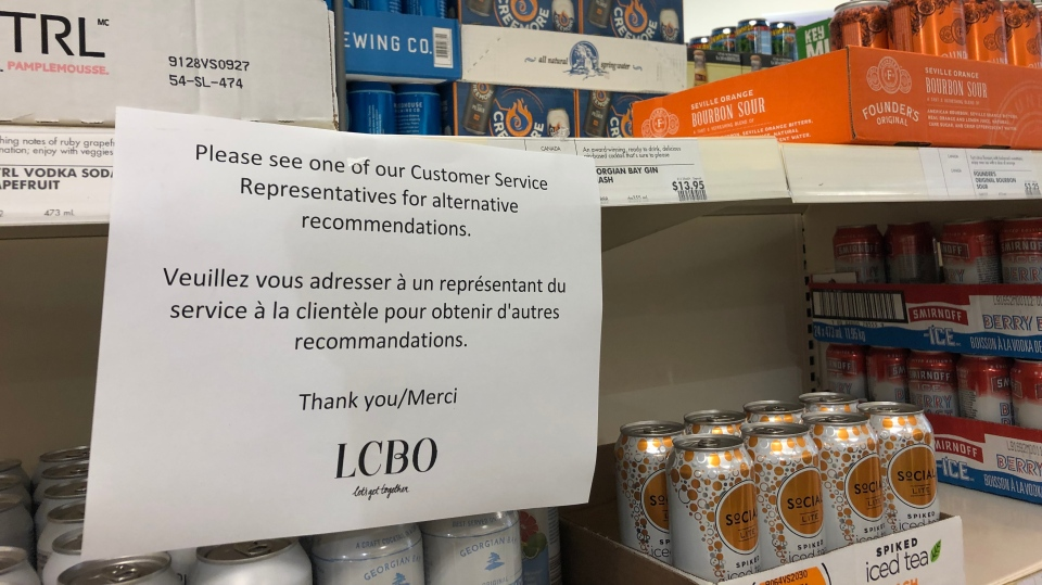 A sign warning customers of a shortage of product at a LCBO store near St. Clair West and Spadina Avenue is seen.