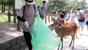 A volunteer picks up plastic products during a cleanup campaign at a famed park in Nara, western Japan, Wednesday, July 10, 2019. (Kyodo News via AP)