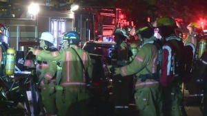 An apartment fire in Hochelaga south-east of Montreal kept fire crews busy Tuesday overnight