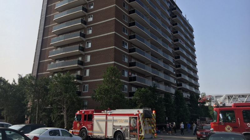 Emergency crews respond to 940 Commissioners Road East after a  burst pipe flooded three floors of the building in London, Ont. on Wednesday, July 10, 2019. (Gerry Dewan / CTV London)