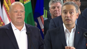 Ontario Premier Doug Ford, left, and Infrastructure Minister Francois-Philippe Champagne appear in this composite image, Wednesday, July 10, 2019.