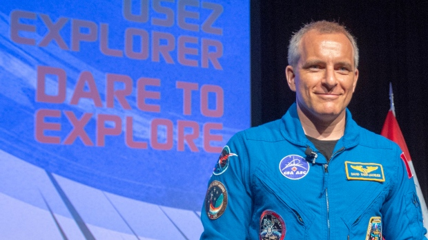 Canadian astronaut David Saint-Jacques leaves the stage after speaking to media Wednesday, July 10, 2019 at the Canadian Space Agency headquarters in St. Hubert, Quebec. (THE CANADIAN PRESS / Ryan Remiorz)