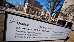 The Robert S. K. Welch Courthouse in St. Catharines, Ont., Thursday, March 23, 2017. (THE CANADIAN PRESS / Aaron Lynett)