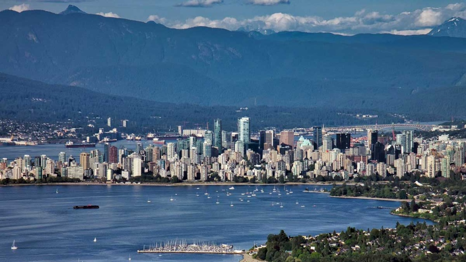 Downtown Vancouver and English Bay are seen in June 2019 from CTV News Vancouver's Chopper 9. (Pete Cline)
