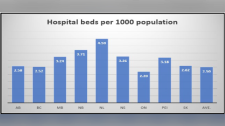 The number of hospital beds per 1,000 people
