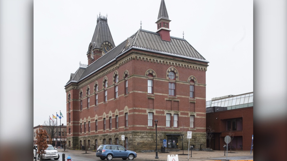 City Hall in Fredericton is seen on April 21, 2019. The only woman on city council in New Brunswick's capital says she feels shut out when trying to incite change. Kate Rogers says greater gender diversity is needed in decision making by the City of Fredericton. (THE CANADIAN PRESS/Stephen MacGillivray)