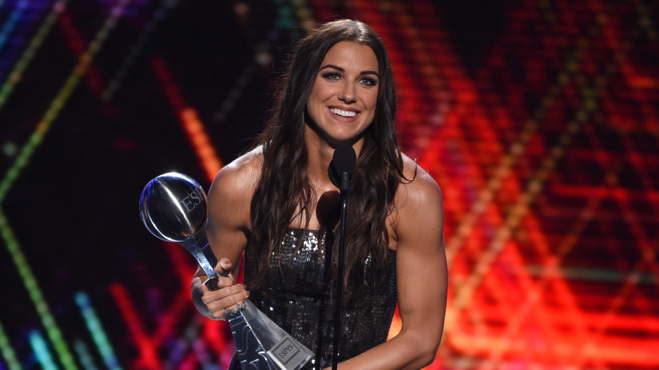 Alex Morgan, a member of the U.S women's national soccer team, accepts the award for best female athlete at the ESPY Awards on Wednesday, July 10, 2019, at the Microsoft Theater in Los Angeles. (Photo by Chris Pizzello/Invision/AP)