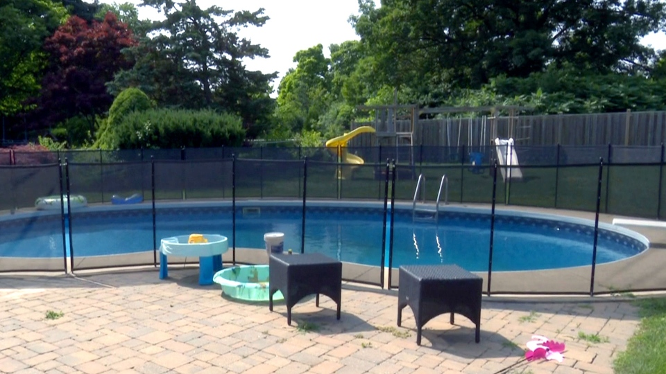 A pool in the backyard of an Oakville home is seen on July 10, 2019.