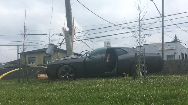 Car crashes into hydro pole on Sudbury's Lorne St