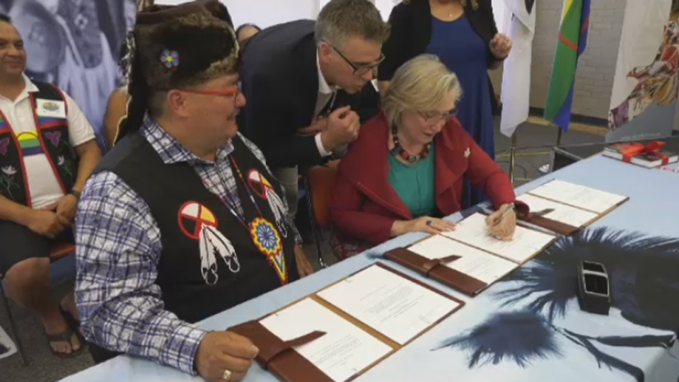 Crown-Indigenous Relations Minister Carolyn Bennett and Peguis First Nation Chief Glenn Hudson signed the papers officially establishing an urban reserve Wednesday.