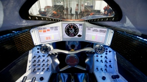 A first person view from the cockpit of the British backed Bloodhound car, designed to reach speeds of 1,600 kilometres per hour, as it is displayed in London on Thursday, Sept. 24, 2015. (AP Photo / Alastair Grant)