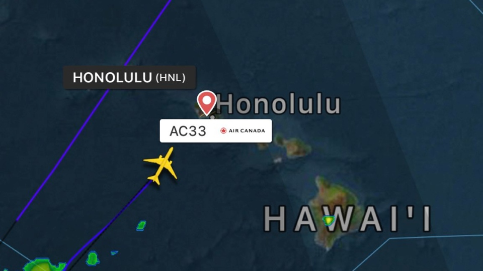 Air Canada Flight 033 was west of Hawaii when it encountered severe turbulence over the Pacific Ocean.
