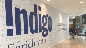 A sign showing where Indigo plans to open a new store this fall is seen at the Mall at Short Hills in Short Hills, N.J., on July 22, 2018. (THE CANADIAN PRESS/Craig Wong)