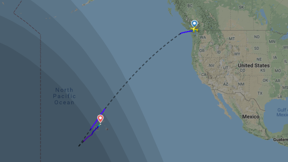 The path of flight AC33 is seen in this tracking image from the website flightradar24.com.