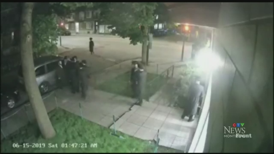 Another security video also shows a group of Hassidic men outside a synagogue. The person who shared the video said the men were subjected to anti-semitic slurs and had eggs thrown at them, although that is not visible.