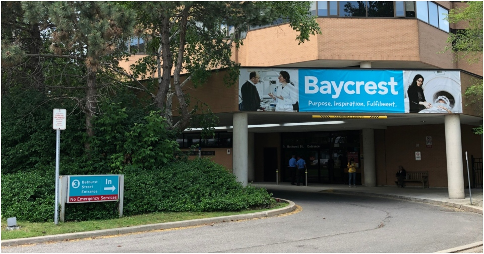 The exterior of Baycrest Hospital is seen on July 11, 2019. (CTV News Toronto / Heather Wright)