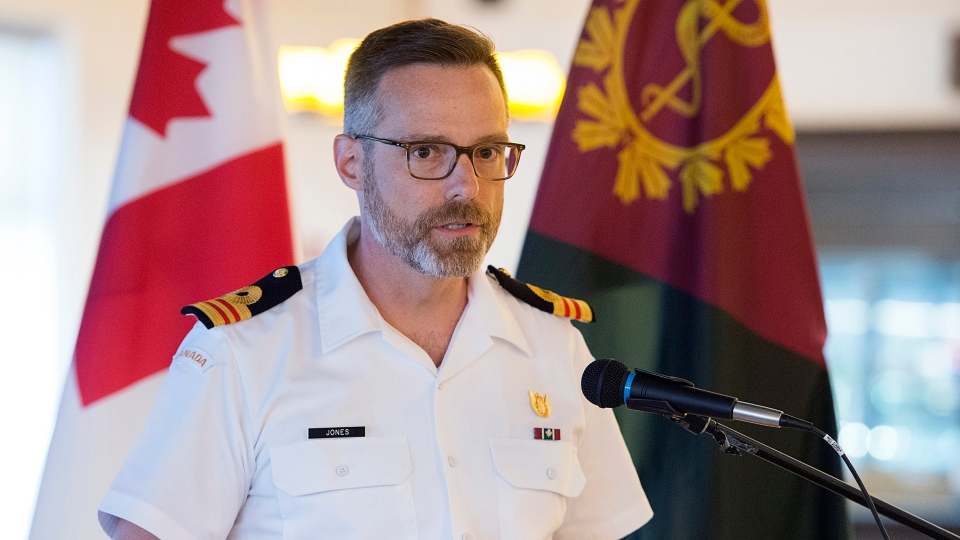 Lt.-Cmdr. Brent Jones, from the directorate of Forces Health Protection, addresses a media briefing concerning the results of HMCS Chicoutimi Health Surveillance Study, in Halifax on Thursday, July 11, 2019. An electrical fire aboard the Victoria-class submarine left one sailor dead and several injured in October 2004 as it was in transit between Faslane, Scotland and Canada. (THE CANADIAN PRESS/Andrew Vaughan)