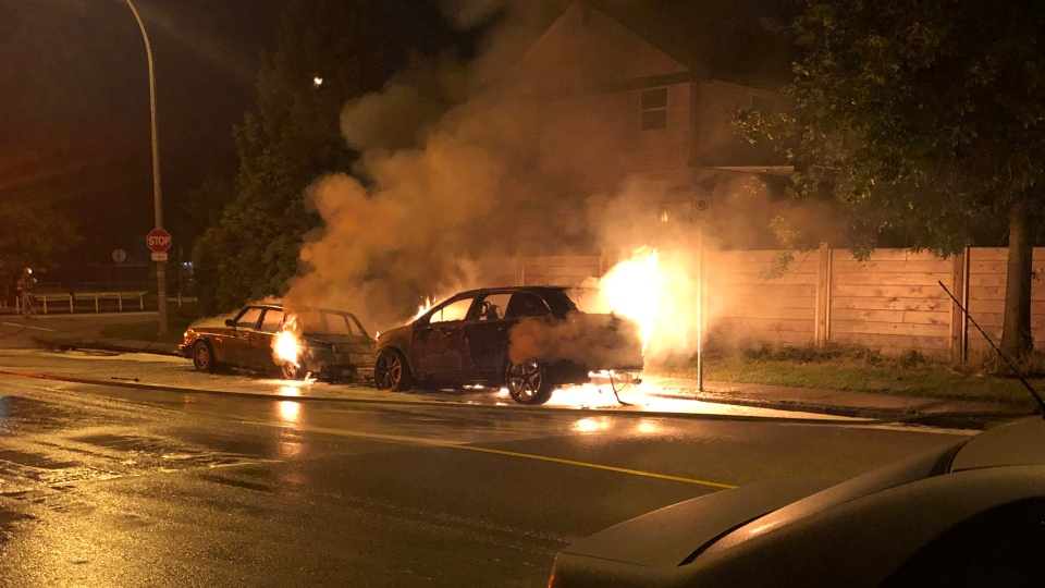 Mounties say two car fires in Port Coquitlam were caused by people attempting to steal car parts. (Janet Kirkham)