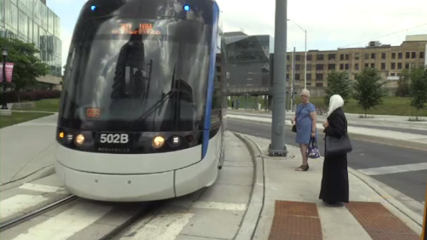 An ION vehicle passing a crosswalk