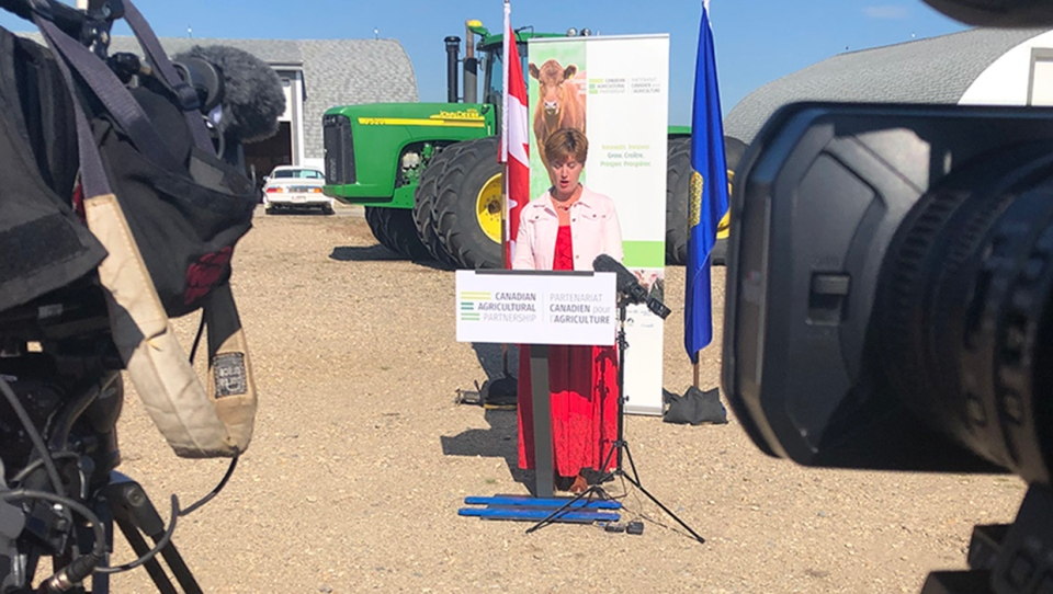 Marie-Claude Bibeau, Minister of Agriculture and Agri-Food, announced $13 million in federal funding for the agriculture industry on July 11, 2019 at a location east of Airdrie