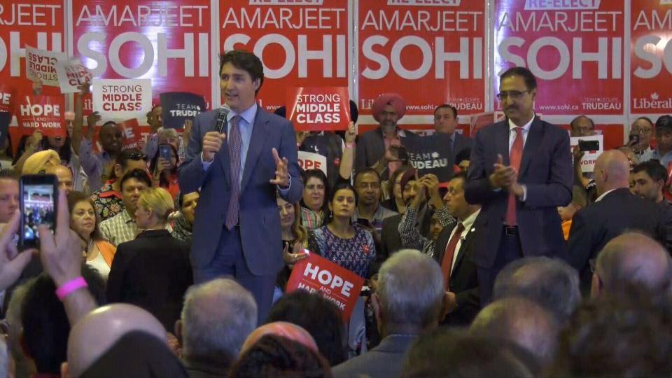 Prime Minister Justin Trudeau showed his support for Natural Resources Minister Amarjeet Sohi in Edmonton on Thursday, July 11, 2019.