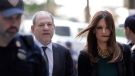 Harvey Weinstein, left, and attorney Donna Rotunno arrive at court for a hearing related to his sexual assault case, Thursday, July 11, 2019, in New York. (AP Photo/Seth Wenig)