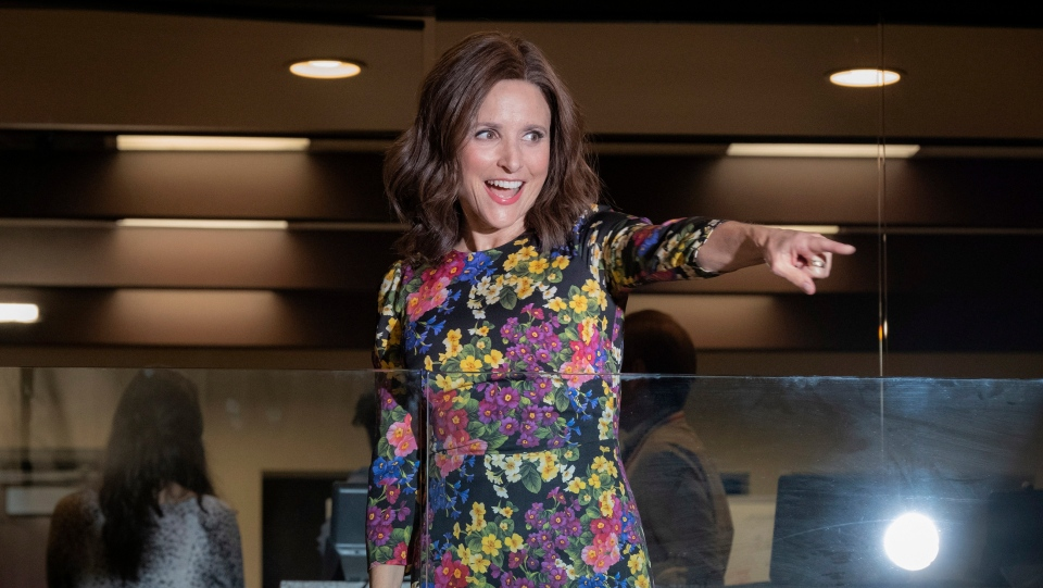 """This image released by HBO shows Julia Louis-Dreyfus in a scene from """"Veep."""" """"Game of Thrones,"""" """"Veep"""" and """"The Big Bang Theory,"""" three major series that wrapped last season, will find out with Tuesday's nominations if they have one more chance at Emmy gold. (Colleen Hayes/HBO via AP)"""