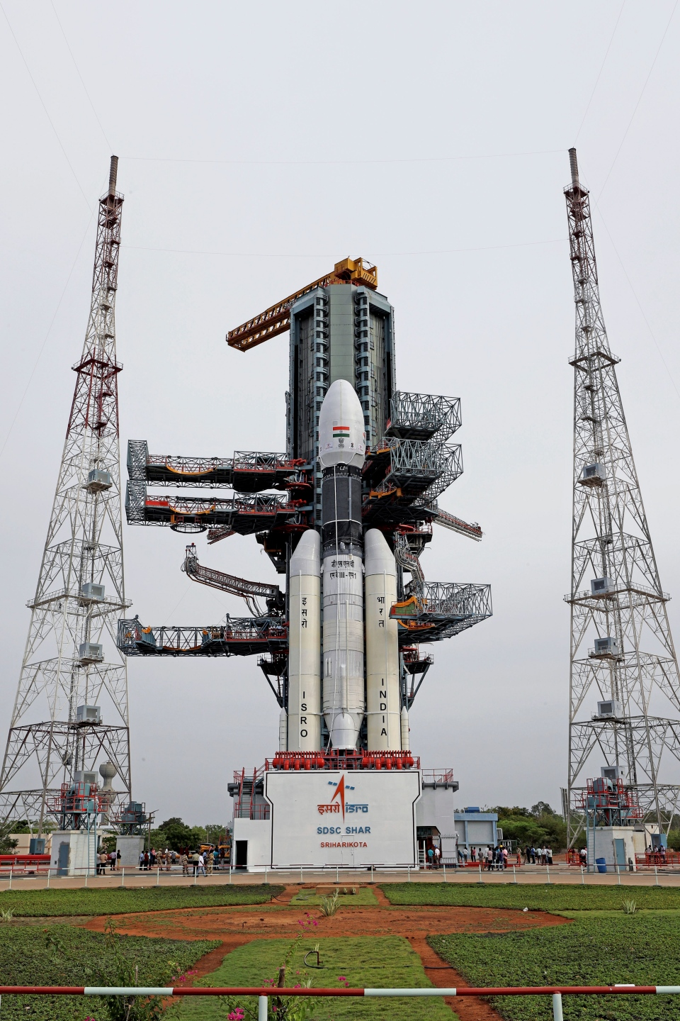 This July 2019, photo released by the Indian Space Research Organization (ISRO) shows its Geosynchronous Satellite Launch Vehicle (GSLV) MkIII-M1 being prepared for its July 15 launch in Sriharikota, an island off India's south-eastern coast. (Indian Space Research Organization via AP)