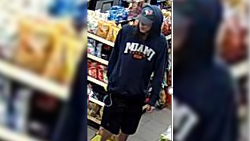 An image released by police in regard to a convenience store robbery on Victoria Street in Kitchener. Police have arrested a suspect. (July 12, 2019) (Source: WRPS)