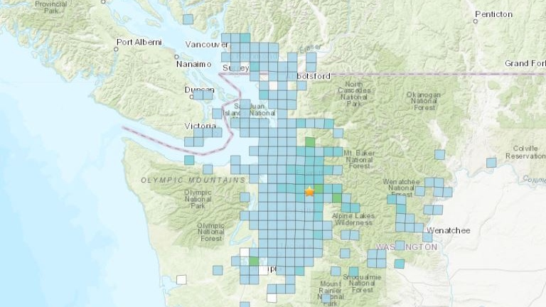 A map from the U.S. Geological Survey indicates where Friday morning's quake was reportedly felt. (USGS)