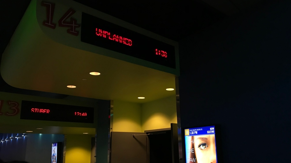 Entrance to auditorium screening Unplanned inside Cineplex's Scotiabank Theatre. (Josh Crabb/CTV News).