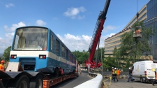 Retired metro car arrives at Ecole Polytechnique (photo: Scott Prouse / CTV Montreal)